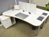 Arbeitsplatz Rondo Dekor perlweiß mit Multiplex-3d-Kante
